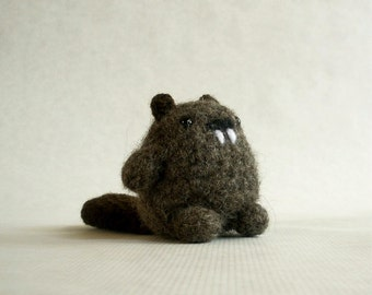 Bitty Beaver Felted Wool Crochet Plush Toy