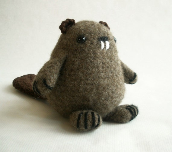 Felted Wool Beaver Plush Toy