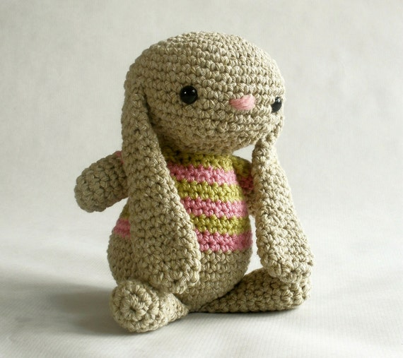 Crochet Cotton Bunny with Shirt - you choose colors