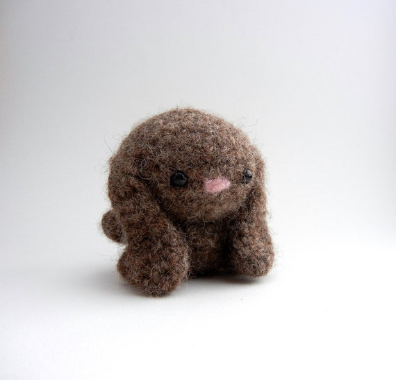 Bitty Bunny Wool Crochet Chocolate Brown