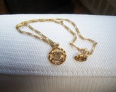 Vtg Chanel gold tone made in france  necklace CC braid rope chain link 1982 80's