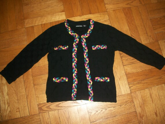 RESERved for VIOLet     Vtg MICHAEL SIMON cardigan sweater jacket S M black knitted rainbow