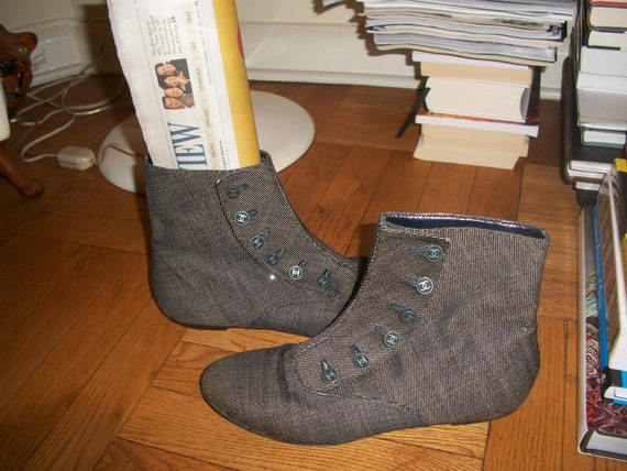 Reserved for KG kg for 72 hours Rare VTG Chanel denim CC logo button Boots shoes flats Gorgeous 8 1/2  39.5  8.5 39 1/2
