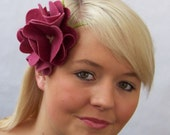 Flower Fascinator in Dark Rose Pink w Lime Green - Wool Flower on elastic headband
