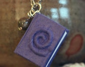 Wee Spiral Book Pendant (purple with Jasper bead)