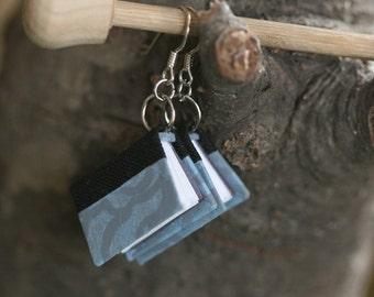 Miniature Book Earrings (blue & black)