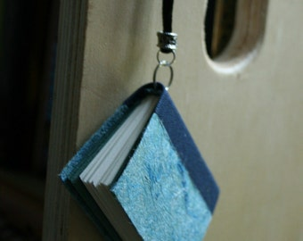 Miniature Book Pendant - Blue/green Momigami paper cover (large)