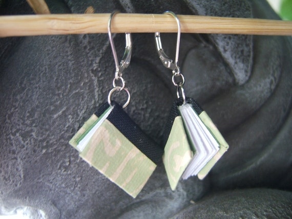 Miniature Book Earrings (light green & black)