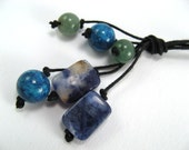 Necklace- Droplets Lariat- Sodalite, green aventurine, turquoise