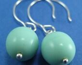 Simple minty vintage bead earrings- handmade sterling hooks