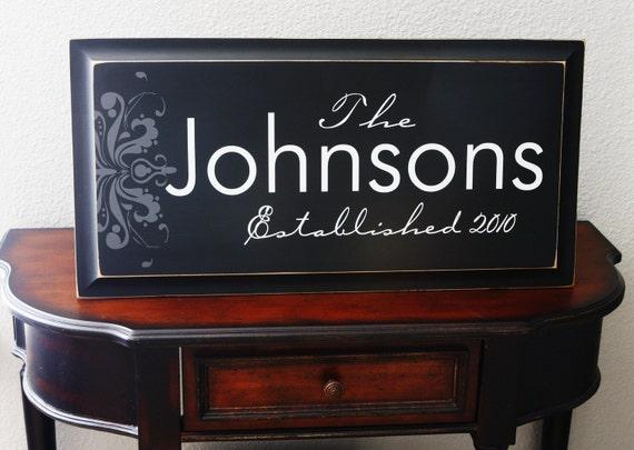 XLarge 14x32 CUSTOM Personalized Family Established Sign for Housewarming Wedding or Engagement
