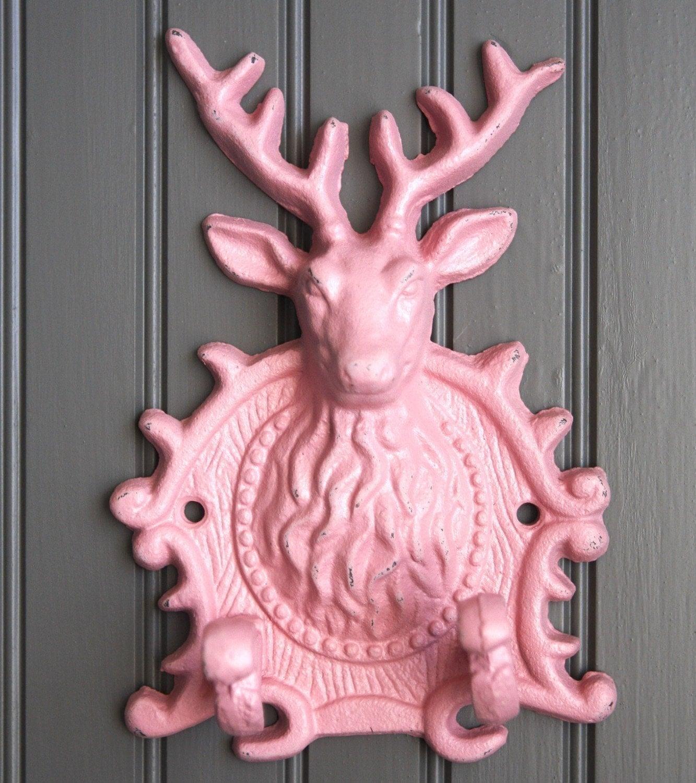 Mounted Elk Deer Head Cast Iron Metal Hook Pink