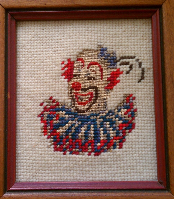 Reserved for DEBBIE: Creepy Tiny Clown Petit-Point Embroidered in Wooden Frame. Hideous/Happy