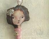 Imaginary Friend stuffed Art Doll necklace\/ pendant