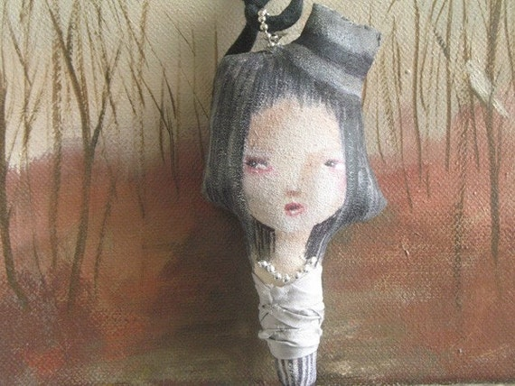 Imaginary Friend stuffed Art Doll necklace\/ pendant grey