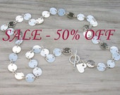 Sterling Silver Disc Chain Necklace - ready to ship - on sale