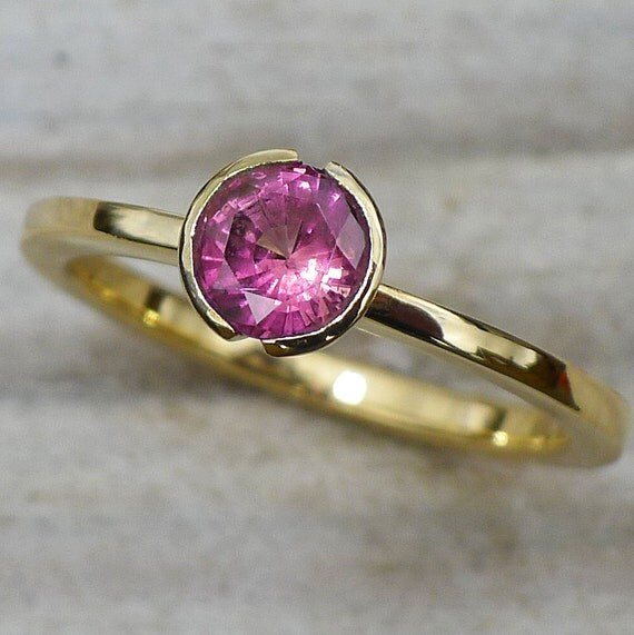 Ethical Mauve Sapphire Ring in 18k Yellow Gold - ready to ship in size K (5 1/4 US)