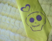 Pirate Jenny Full Length Silk Yellow and Purple Happy Skull and Heart Necktie