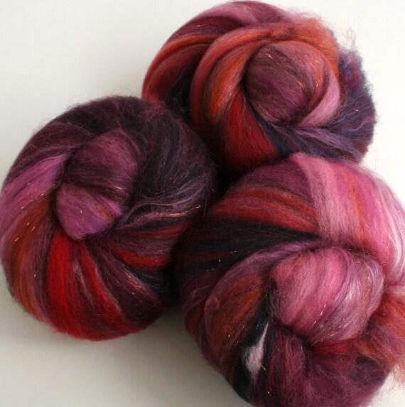Plum wine -- (4.4 oz. per set) BFL wool, latte silk, tussah silk, and sparkle.