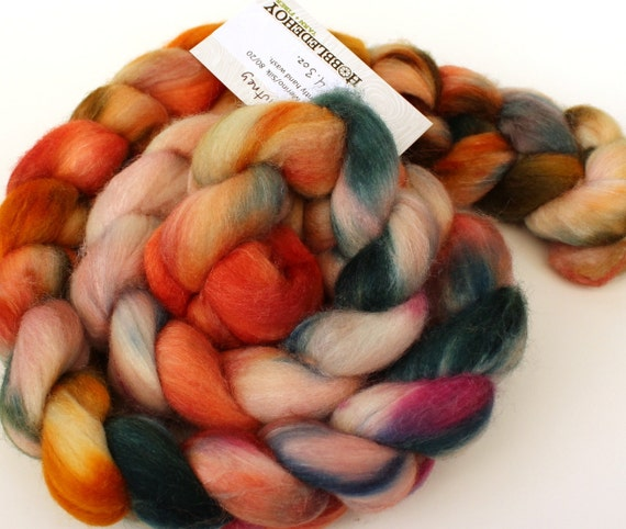 Mango chutney -- dyed Merino silk top / roving (4.3 oz.)