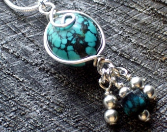 Artisan Turquoise Gemstone  Wire Wrapped Sterling Pendant Necklace