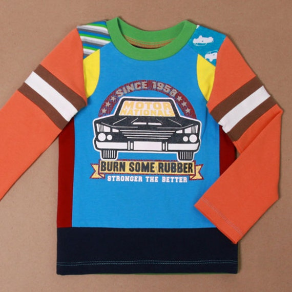 Size 12 months up to 2T boys upcycled t-shirt Motor nationals