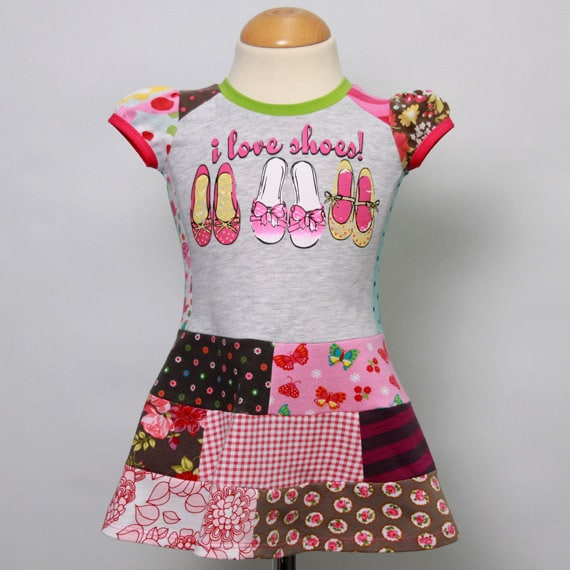 Size 12M up to 2T girls upcycled t-shirt patchwork dress i love shoes