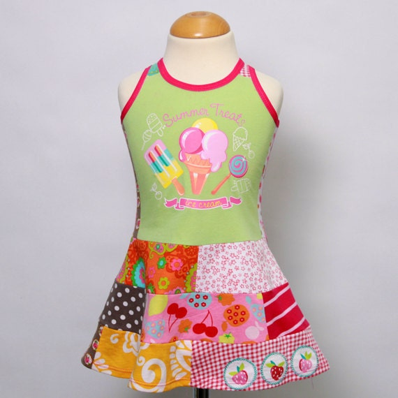 Sale size 12M up to 2T girls upcycled t-shirt patchwork dress Summer dress