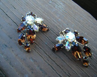 vintage AURORA rhinestone earrings