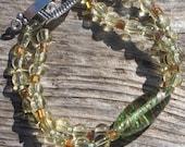 Double Strand Peridot Green Glass Bracelet