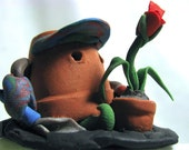 Pot heads Sculpey Gnome Figure-The Only Gardening Garden Gnome handmade mini figurine