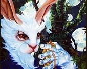 RW2 Signed Limited Edition Print Alice in Wonderland White Rabbit