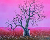 RW2 Shower Curtain Cloth Wayne's Tree by Robert Walker Pink landscape art surreal magenta dead gothic surrealism