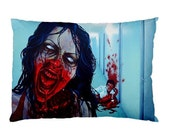 RW2 ZOMBIE Double-Sided Pillowcase Post Apocalyptic Night Life Art Surreal End of the World Horror red black blue Zombie