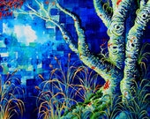 RW2 Shower Curtain Cloth September by Robert Walker tree blue orange red water swamp landscape art surreal Night moon nightscape teal aqua