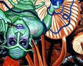 RW2 Original GICLEE Caterpillar surreal art Alice in Wonderland