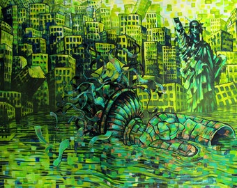 RW2 Signed Limited Edition Print New York City pollution Statue of Liberty green blue aqua teal post apocalyptic