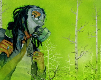 RW2 Signed Limited Edition Print gas mask Environmental Art Apocolyptic zombie apocalyptic Robert Walker end of world Surreal 2012 nature
