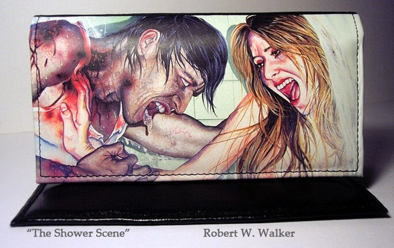 RW2 Ladies Leather Clutch Wallet Zombies The Shower Scene by Robert Walker