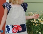 Vintage Kimono and Linen TOP or SMOCK...You choose the size, 2T, 3T, 4T, 5T.