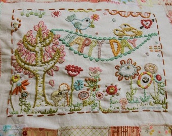 embroidery pattern on fabric, Happy Day
