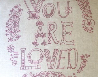 embroidery pattern on fabric You Are Loved, purple