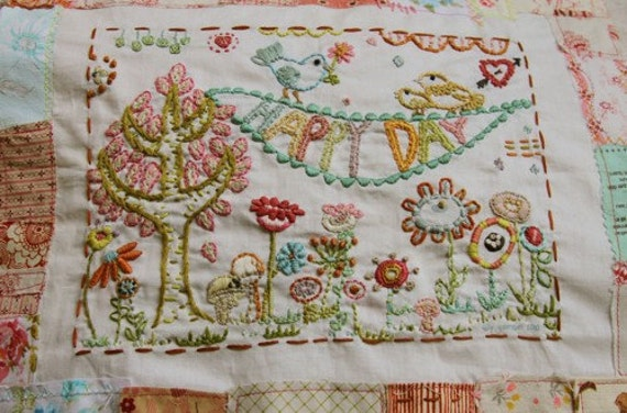 happy day stitching sampler pattern