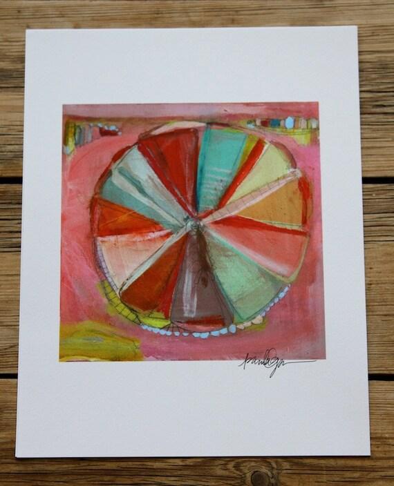 """Pink Pinwheel art print 8.5x11"""""""