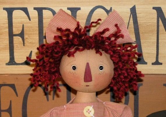 Molly Spun Wool Doll Hair Prim  RED