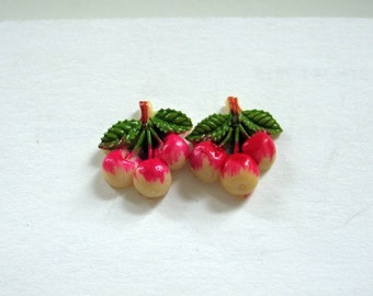 Vintage 1930's Celluloid Cherries made into Pierced Earrings