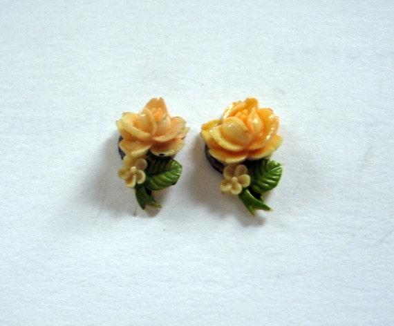 Vintage 1930's Celluloid Peach Rose made into Pierced Earrings