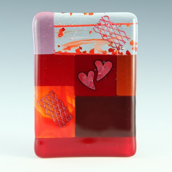Hearts Fused Glass Collage Night Light (Ready To Ship)