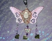 Spring Time Love Fairy with Wings Hand Made Pendant