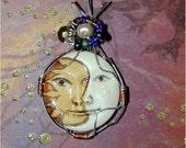 Glow in the Dark Celestial Moon with Sun Pendant Handmade